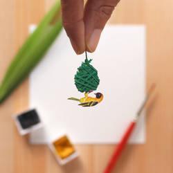 The Village Weaver - Paper Cut art