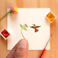 The Ruby-topaz Hummingbird - Paper Cut art
