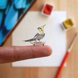 The Cockatiel with his skateboard - Paper Cut art