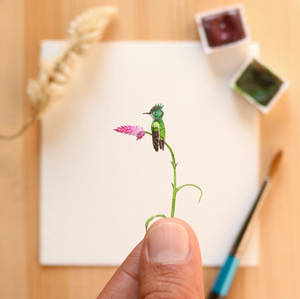 The Antillean crested hummingbird - Paper Cut art