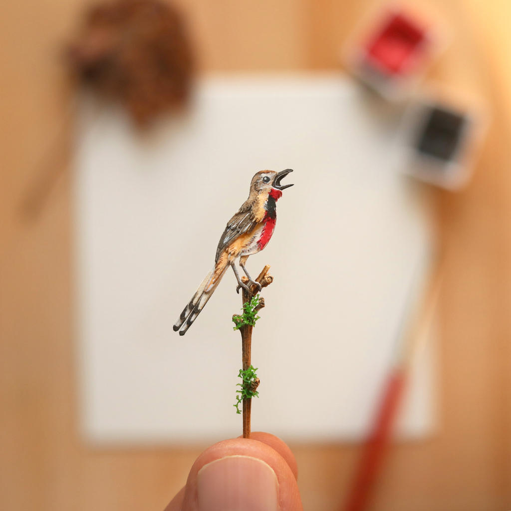 The Rosy-patched Bushshrike - Paper Cut art