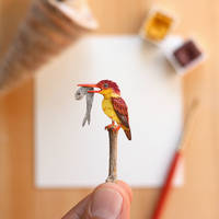 The Rufous-backed Kingfisher - Paper Cut art
