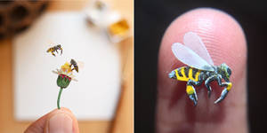 Tiny Honeybees - Paper Cut art