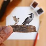 House Crow VS House Sparrow - Paper Cut art