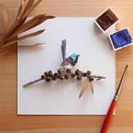 The Variegated Fairywren - Paper Cut art