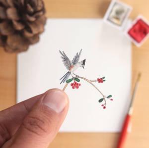 The Black-crested Titmouse - Paper Cut art