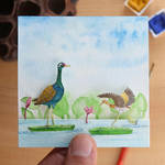 The Bronze-winged Jacana with baby - Paper Cut art