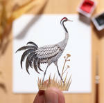 The Common Crane - Paper Cut art