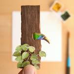 The Emerald toucanet  - Paper Cut art