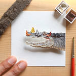 The Spectacled caiman chilling with his friends