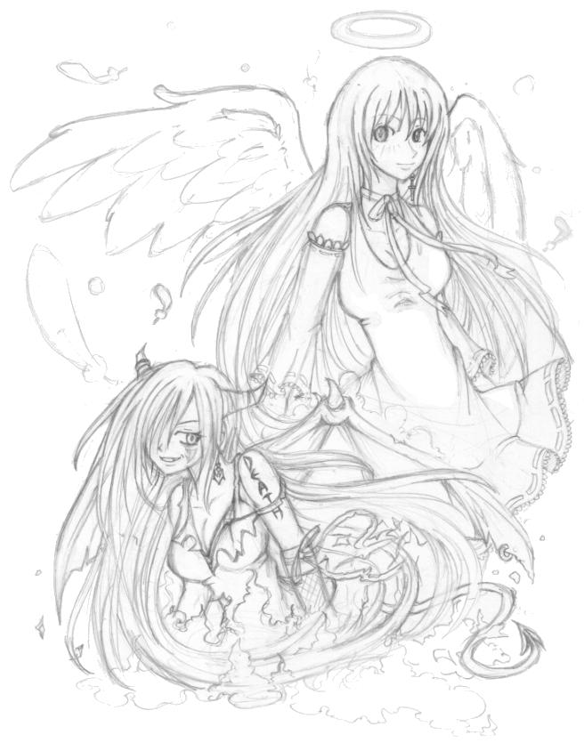 Angel Devil Girl Drawings