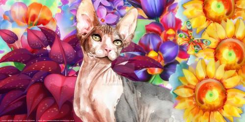 Watercolour Sphynx Wallpaper PTU
