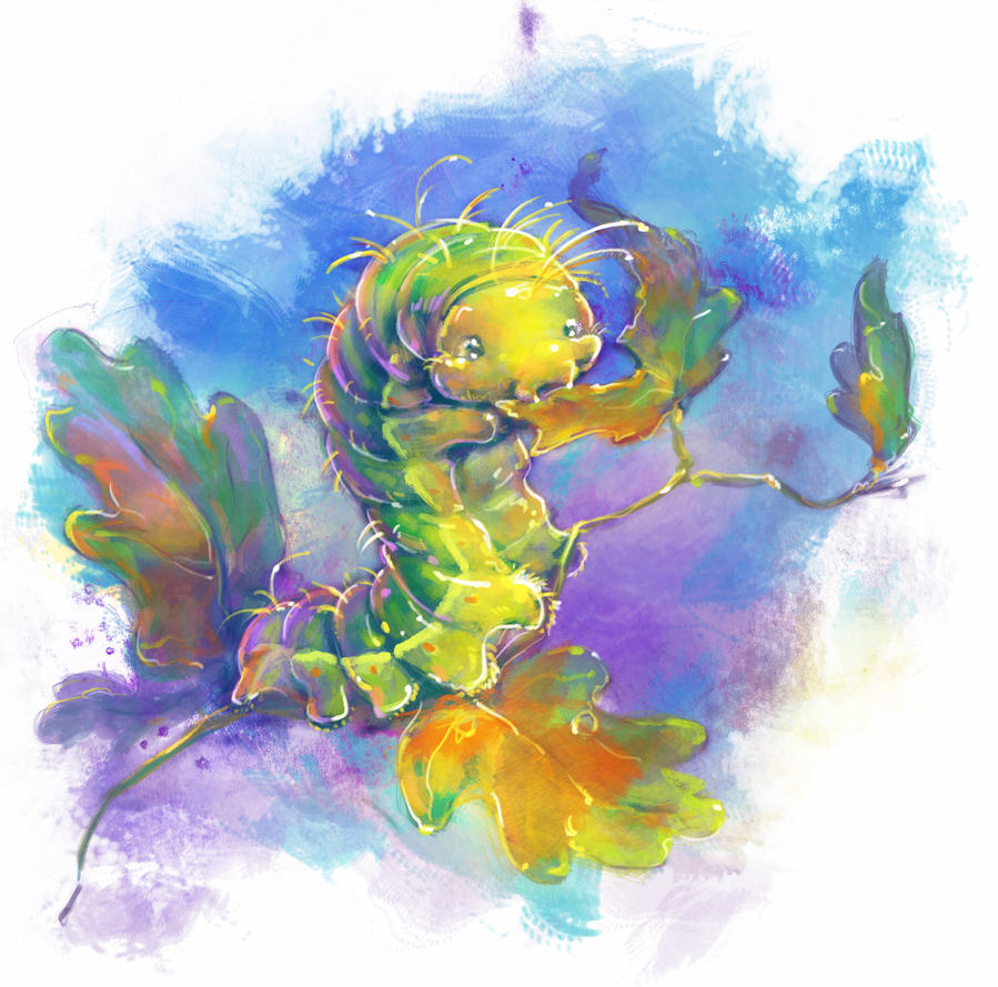 Japanese Oak Silkmoth Caterpillar by Fany001