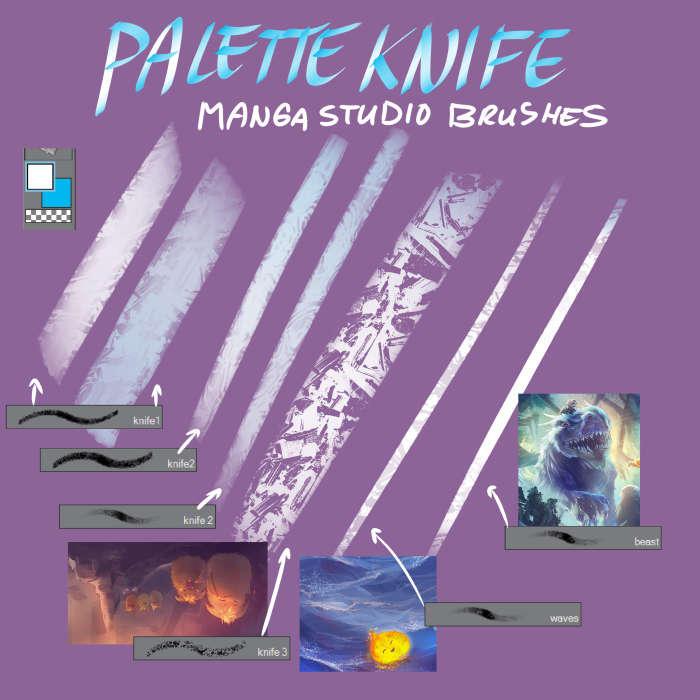 Free Manga Studio: Free Palette Knife Manga Studio Blending Brushes By