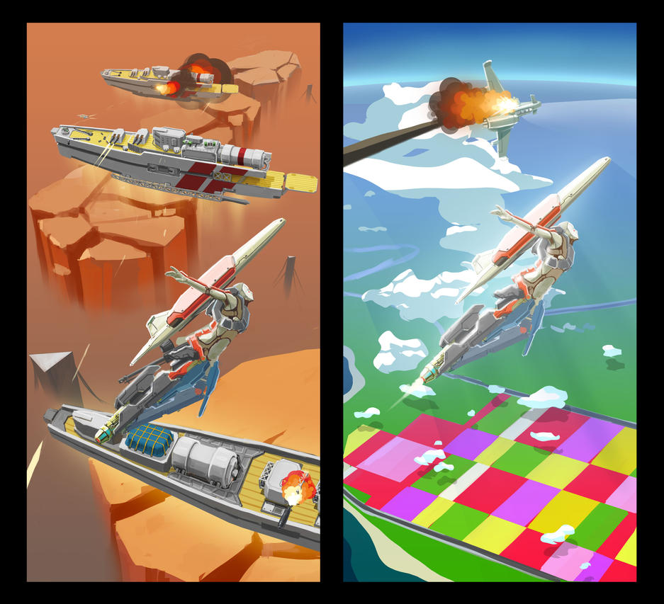 Hovering Battleship / Dogfight by longgi