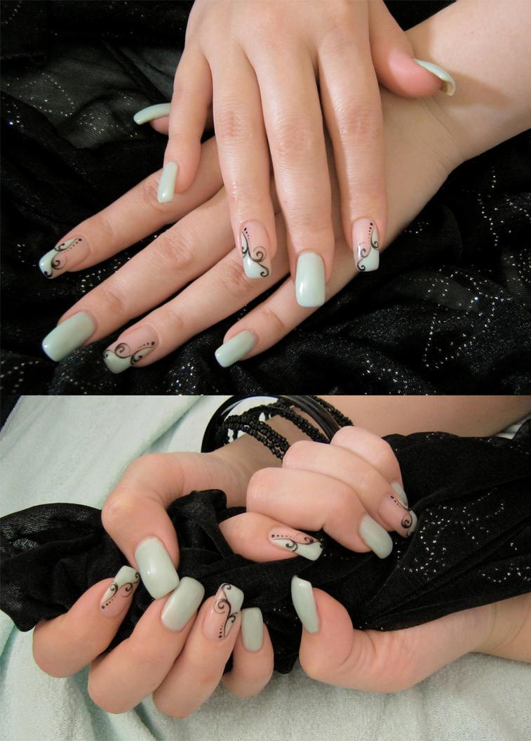 Mint nails by AmbisMortem