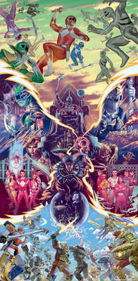 Mighty Morphin Power Rangers combined covers