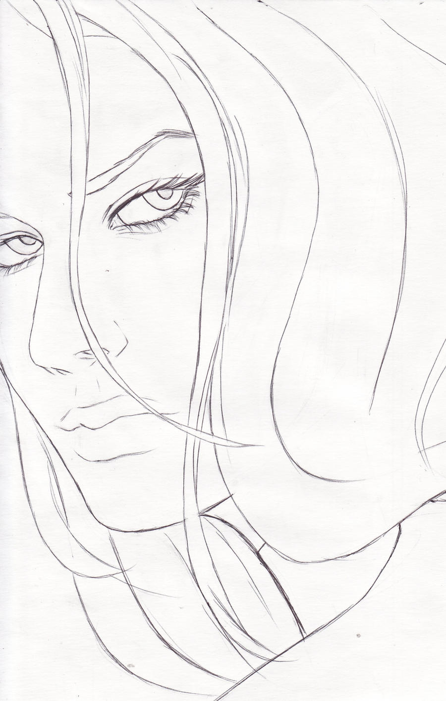 Line Drawing Of Female Face : Ayana s face line art by cleanslash on deviantart