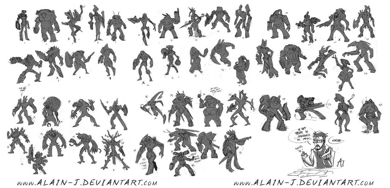 Alien Character Silhouettes by ALA1N-J