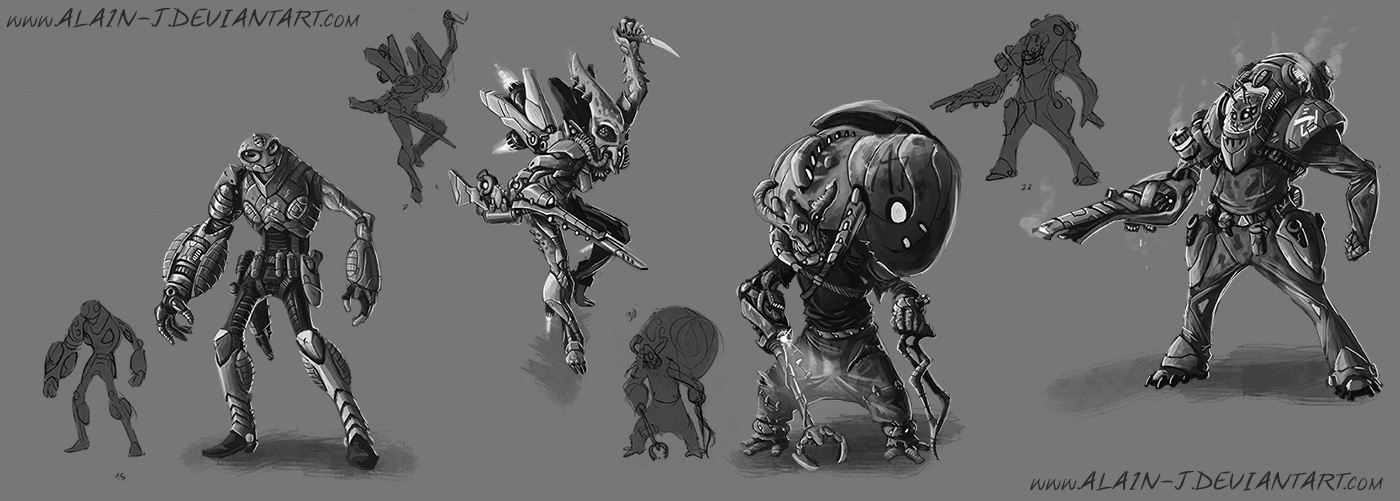 Alien dudes with Robotic arms by ALA1N-J
