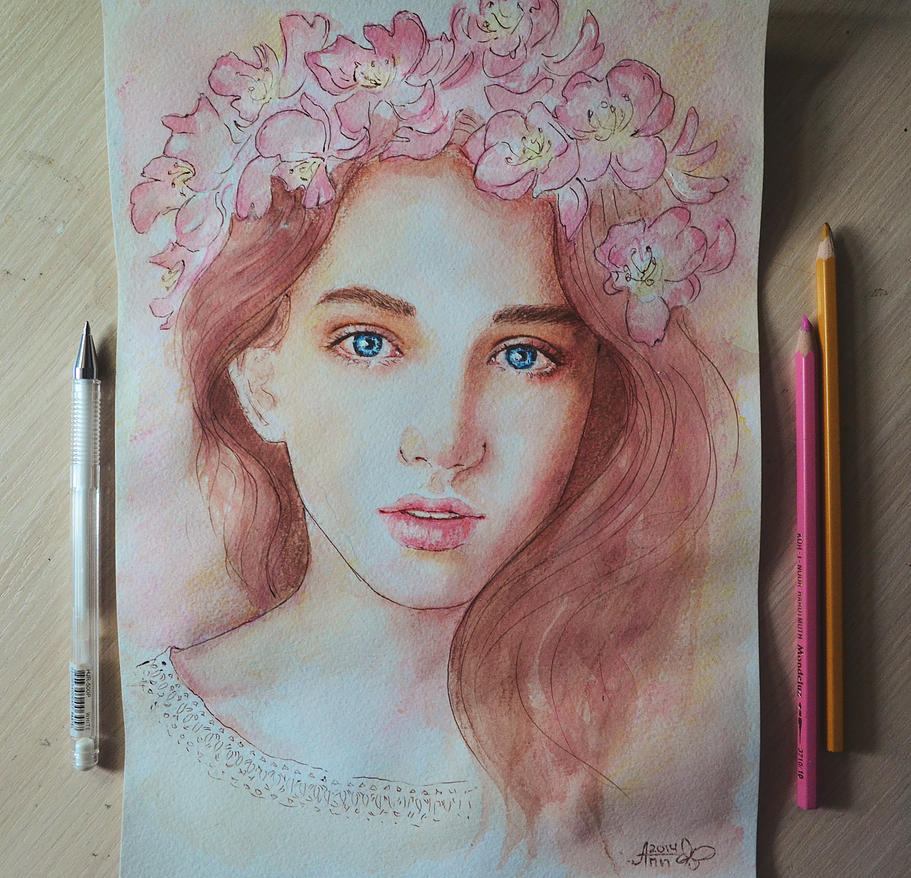 Рисунки девушек красками 25 фотография