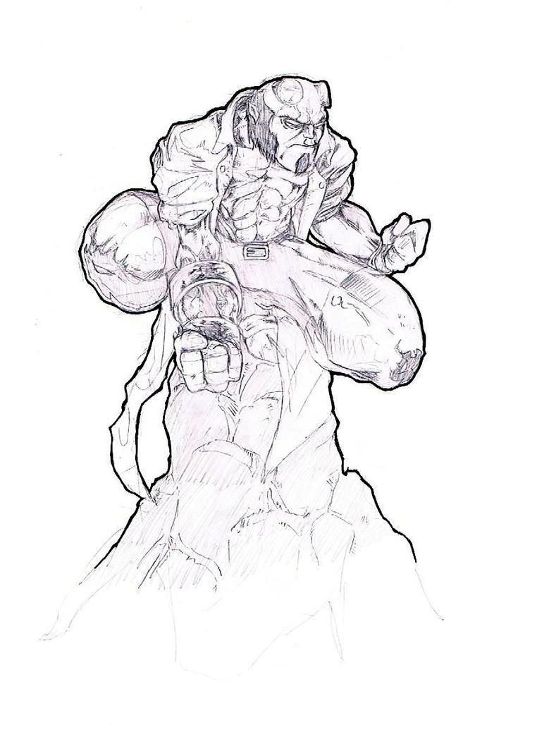 Hellboy- Battle Artist by ParisAlleyne
