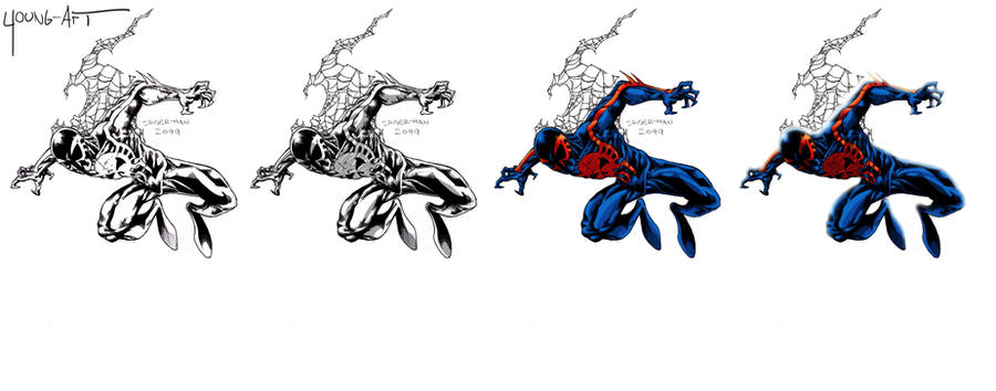 how to draw spiderman 2099 step by step