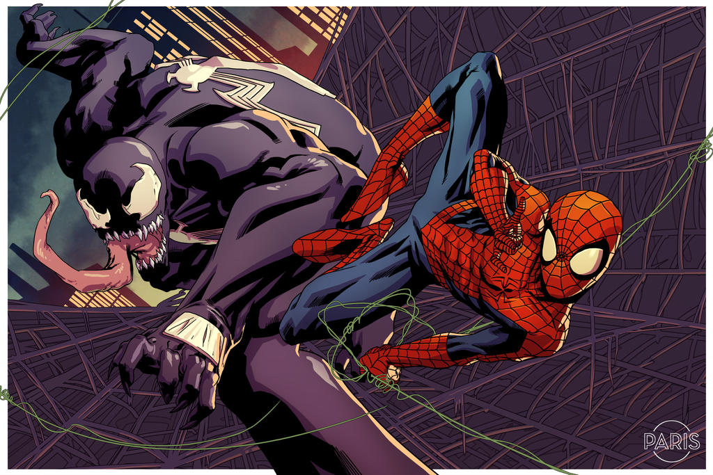 Spider-man v. Venom Commission by ParisAlleyne