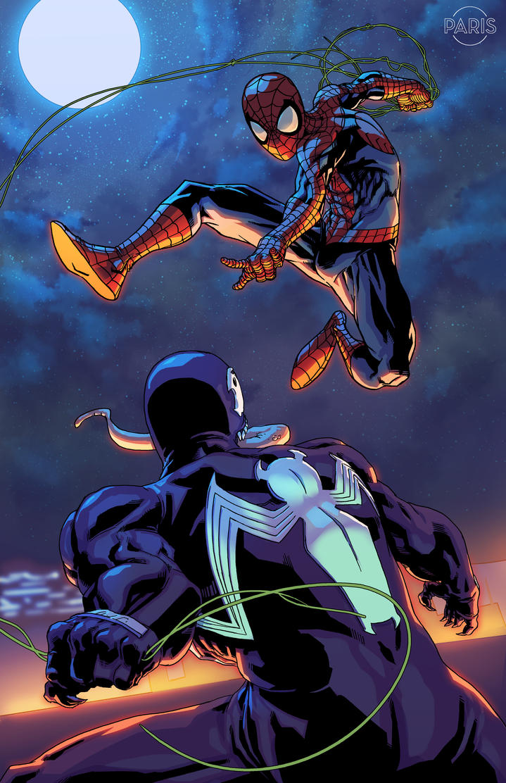 Spider-man vs Venom Commission by ParisAlleyne