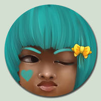 Little Face - Teal by marywinkler