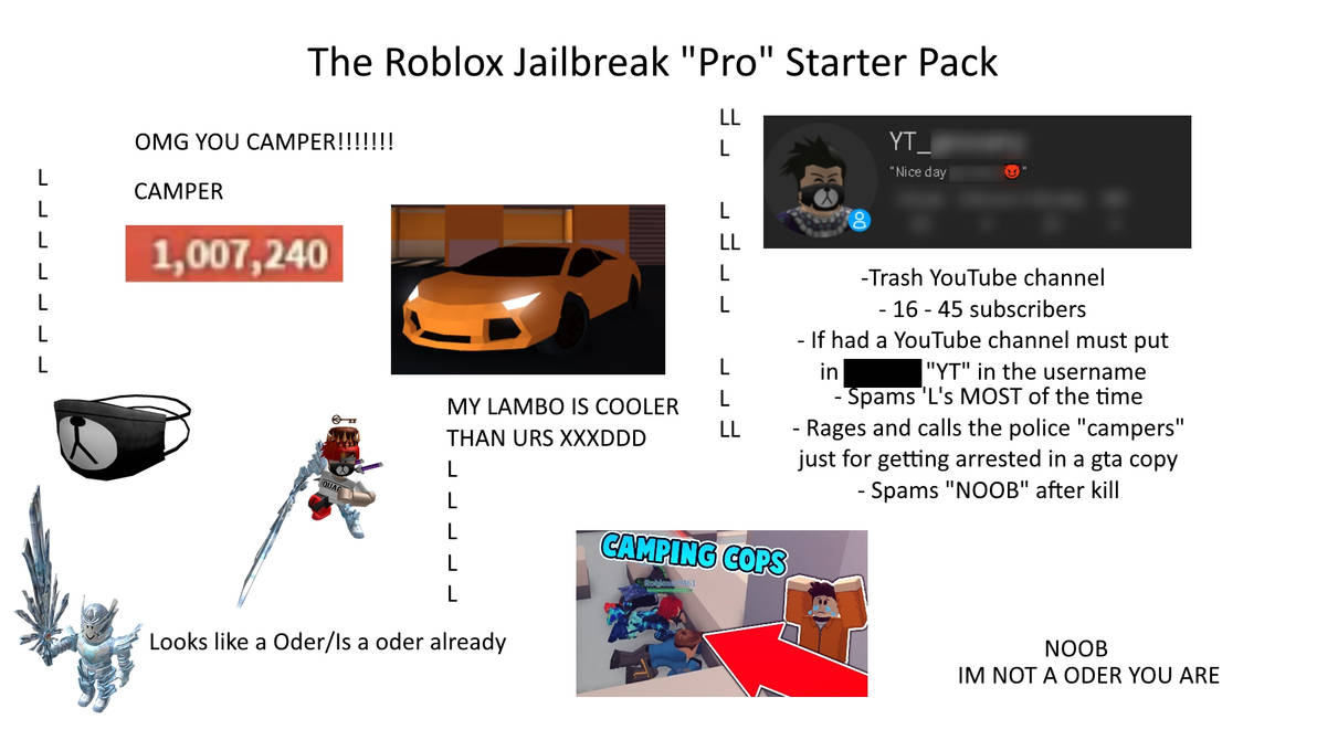 The Roblox Jailbreak Pro Starter Pack By Thefoxgamer03 On Deviantart