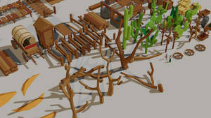 Low poly game assets [Wild West 3]