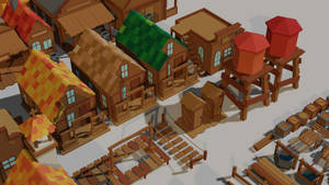 Low poly game assets [Wild West 5]