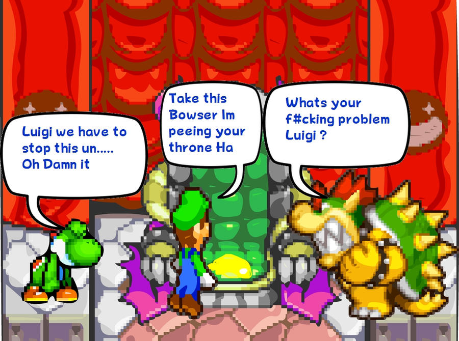 Luigi Peeing  Bowsers Throne by DarkraDx
