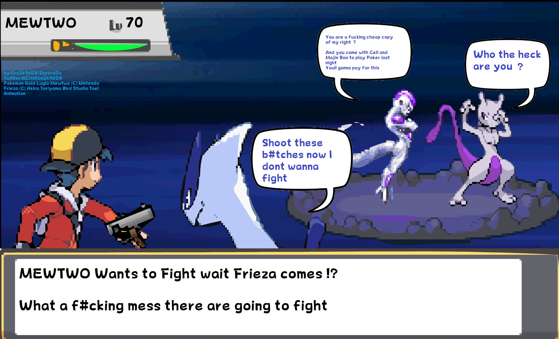 Gold And Lugia Vs Mewtwo And Frieza Sprite Comic By