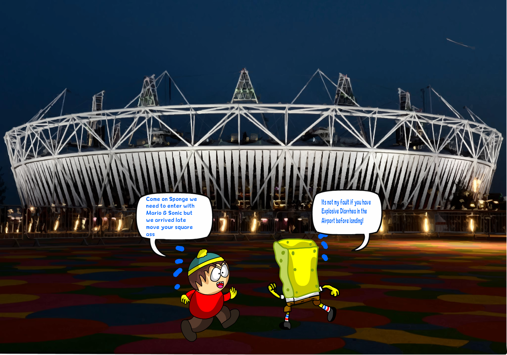 Sponge and Eric run to the London 2012 Too Late by DarkraDx