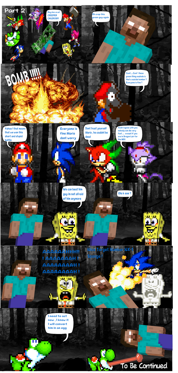 Mario Sonic Sponge Blaze Yoshi vs Herobrine Part 2 by DarkraDx