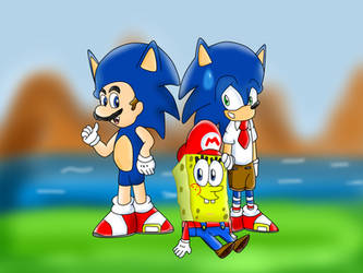 Mario Sonic SpongeBob as each other by CristianDarkraDx2496