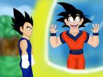 Goku seeing Vegeta