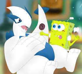 SpongeBob and Lugia Playing to the Dentist by CristianDarkraDx2496