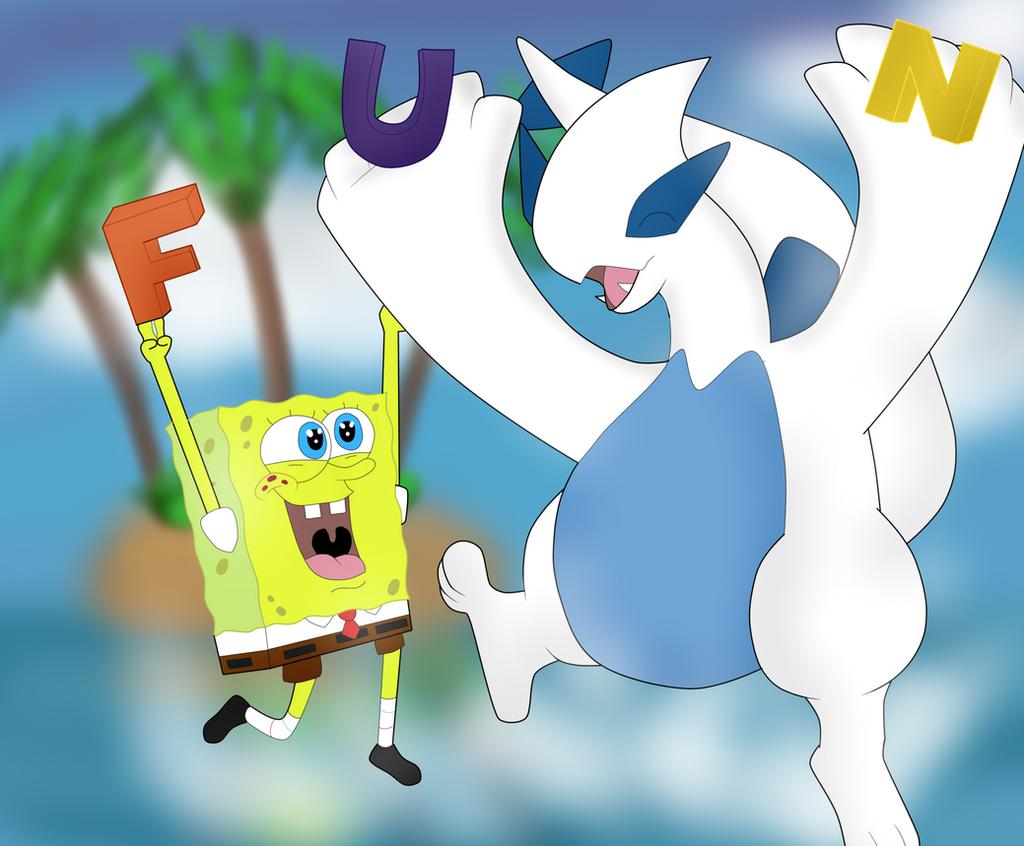 Spongebob Meet Bendy Deviantart: SpongeBob And Lugia FUN By DarkraDx On DeviantArt