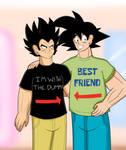 Goku and Vegeta with SpongeBob Shirts
