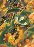 Mega Rayquaza's Fury by WraithWolves