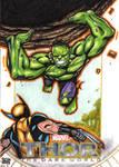Thor the dark world - WOLVIE VS HULK sketch card by JASONS21