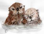 Watercolour - Otter Cuddle