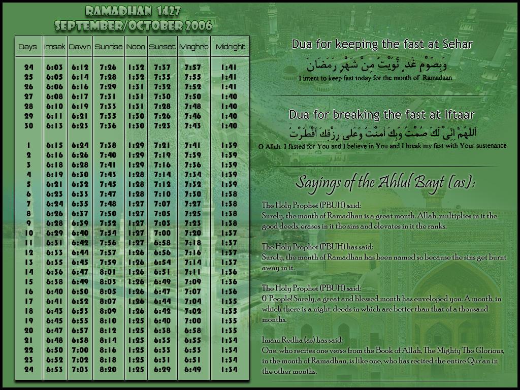 Ramadhan 2006 Calendar By Ali Imran786
