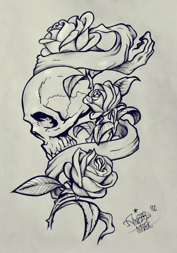 Skulls Rose Tumblr Skull And Roses By Moterpants