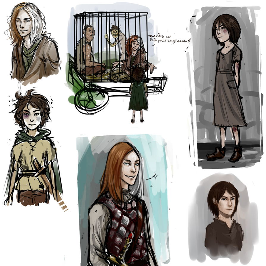 Jaqen and Arya sketches by Leon9606