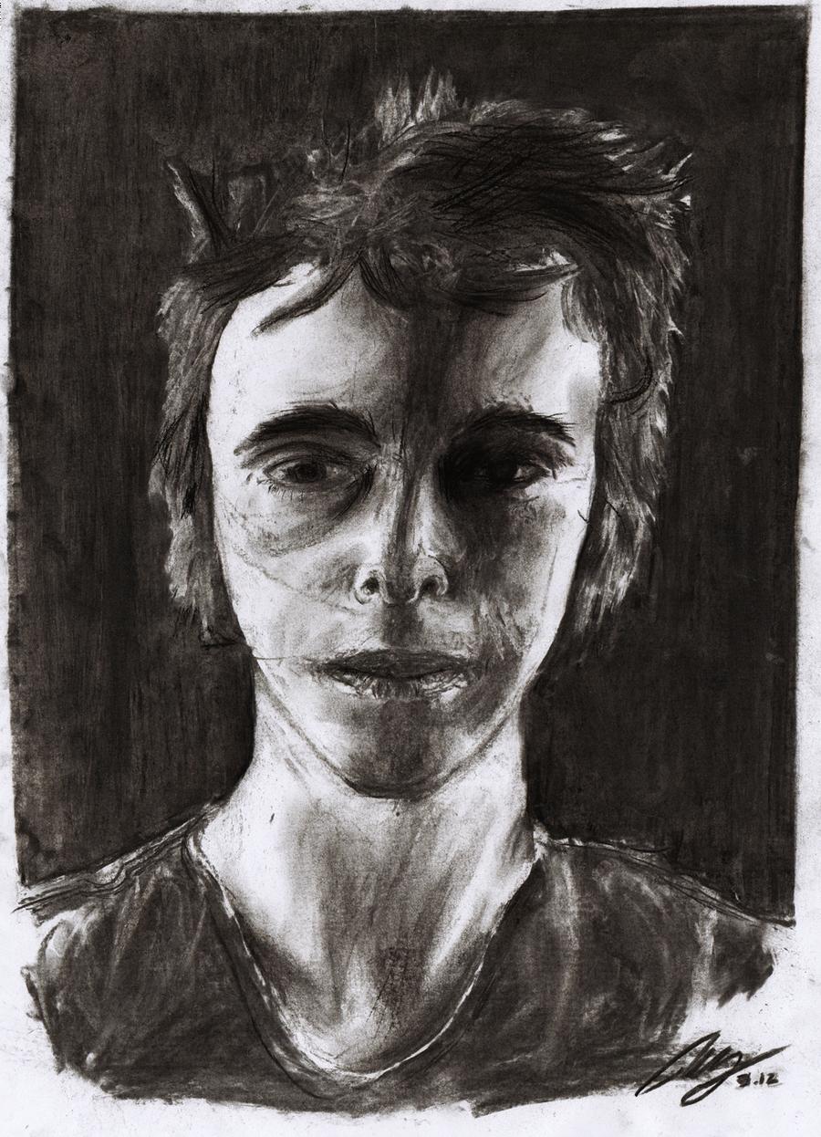 Charcoal Self-Portrait by NewWorldPunk