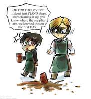 I drew them as baristas because tumblr by Tavoriel